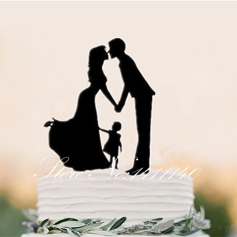 10Pcslot Family Silhouette Wedding Cake Topper With Girl -9862