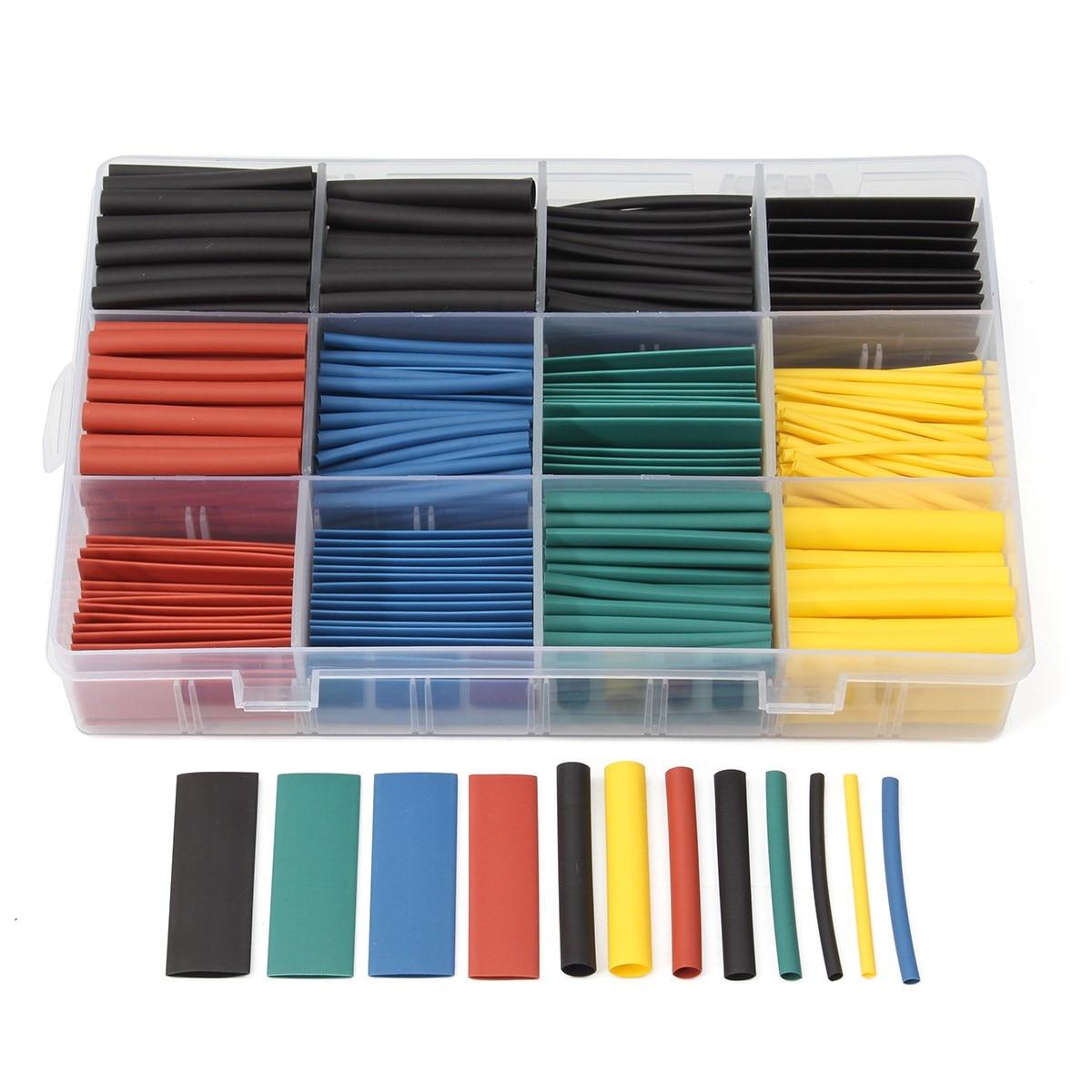 530pcs Multi Color Heat Shrink Tubing Insulation Shrinkable Tube Assortment Electronic Polyolefin Ratio 2:1 Wrap Sleeve Tube Kit