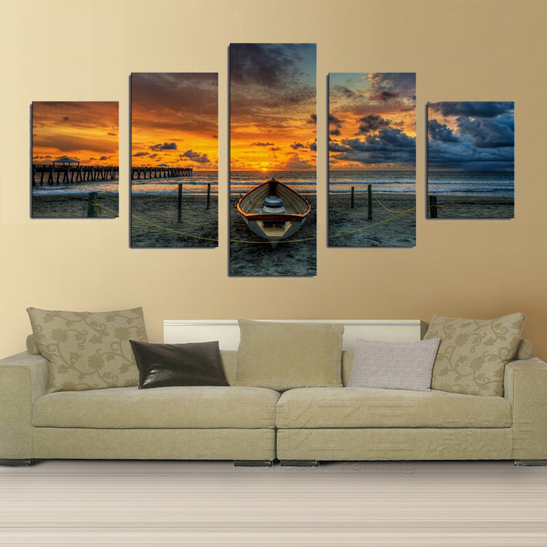 Print art canvas painting 5 piece large hd seaview boat for 5 piece living room packages