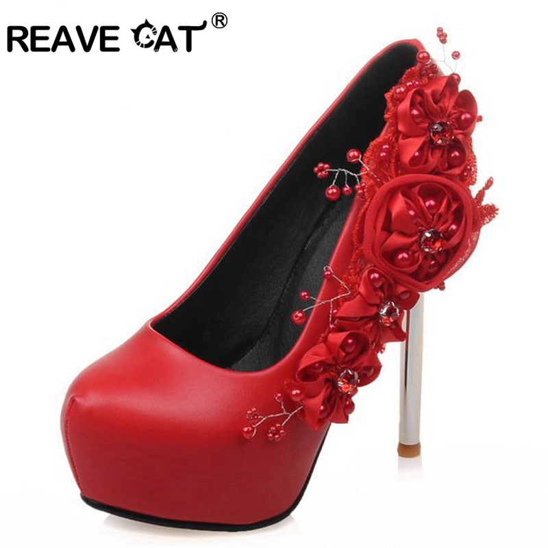 REAVE CAT Women High Heel Shoes Wedding Flower Platform Heeled Escarpin Lady Pumps Fashon Footwear Party Sexy Red A048 In Womens From On