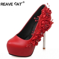 REAVE CAT Women High Heel Shoes Wedding Shoes Flower Platform Heeled Escarpin Lady Pumps Fashon Footwear
