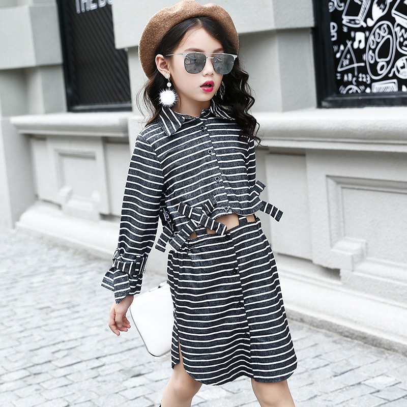 little teenage girls clothing sets autumn boutique striped
