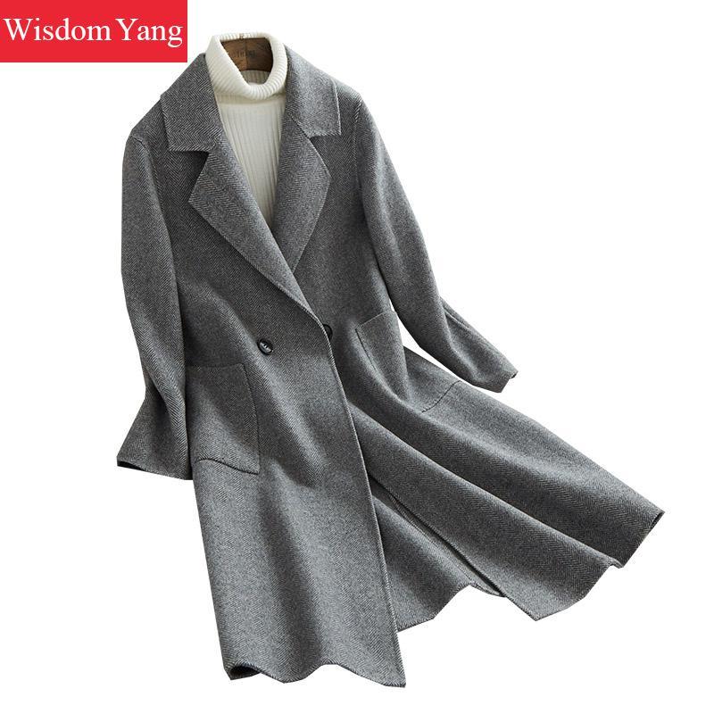 Winter Grey Coat Full Sleeve Sheep Wool Aplace 2018 Coats Women Slim Darkgray Xlong Oversize Button Woolen Overcoat Outerwear