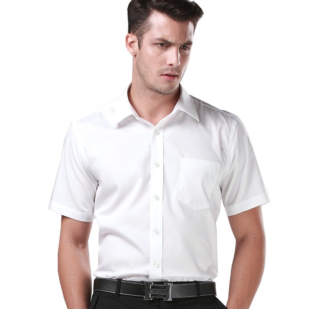 Menschwear Men's Cotton Solid White Short Sleeve Dress Shirt ...