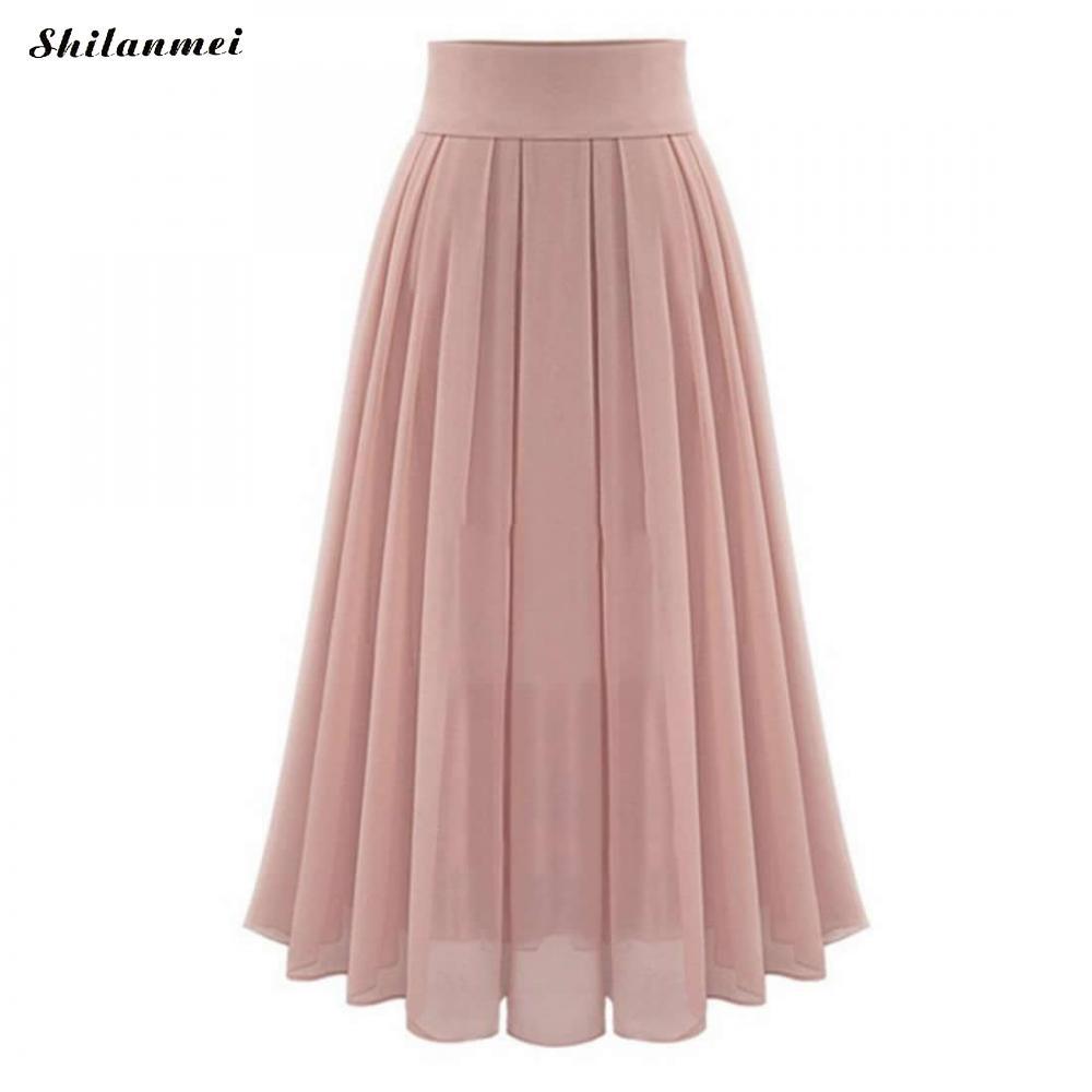 Elegant Chiffon Long Skirt Sweet Pink Color Beach Women Boho 2018 Summer Faldas High Waist Maxi Pleated Skirts Jupe Femme Longue