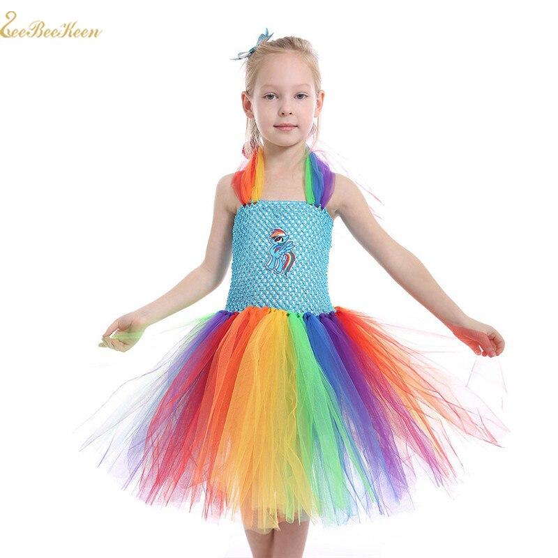 1-12Years Kid's Anime Unicorn Costume Girls Rainbow Tutu Dress Baby Horse Cosplay Costume Children Stage Performance Wear