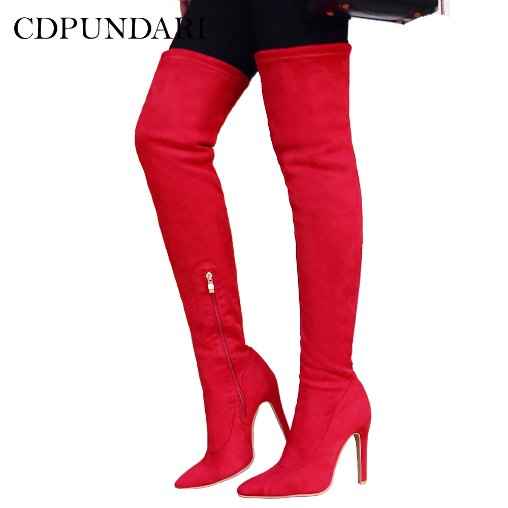 CDPUNDARI High heel over the knee boots women Pointed Toe thigh high boots Ladies Winter shoes woman botas mujer bottine femme 2017 new winter arrival long boots for women over the knee thigh boots high heel flock shoes club boots botas mujer femininas