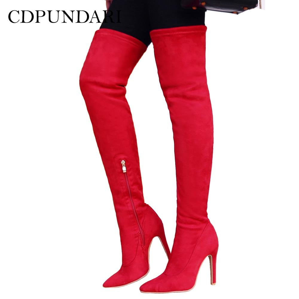 CDPUNDARI High heel over the knee boots women Pointed Toe thigh high boots Ladies Winter shoes woman botas mujer bottine femme защитная пленка luxcase для samsung galaxy s4 active i9295 суперпрозрачная 136х68 мм