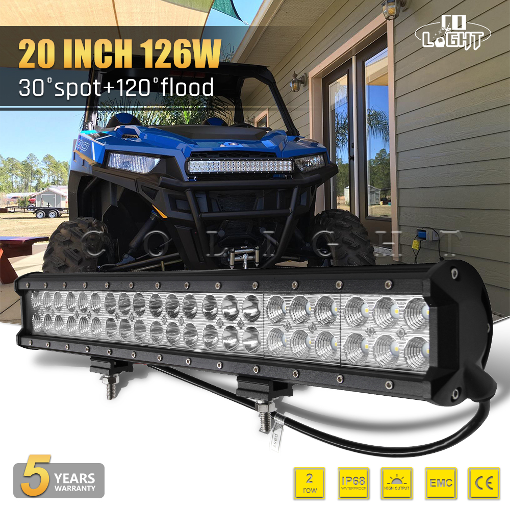 CO LIGHT 20 Inch 126W LED Light Bar 12V 24V Work Light Auto for Work Driving Boat Car Truck 4x4 SUV ATV Off Road Lada Fog Lamp 17 inch 108w led light bar spot flood combo light led work light bar off road truck tractor suv 4x4 led car light 12v 24v