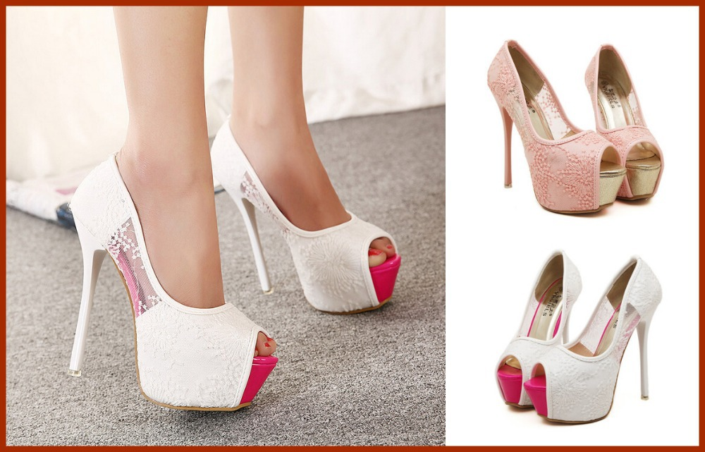 109c7f22339 Women Pumps 2015 Sexy Wedding Shoes White Lace Peep Toe 14cm High Heels  Ladies Girls Prom Evening Bridal Shoes-in Women s Pumps from Shoes on  Aliexpress.com ...