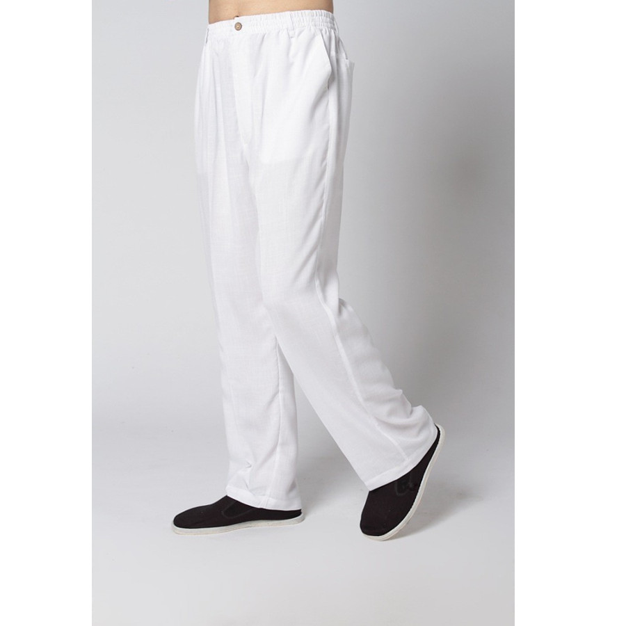Sale White New Spring Chinese Mens Linen Kung Fu Trousers Size S M L XL XXL XXXL Free Shipping 2350-8