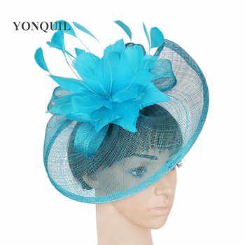NEW Sinamay hat fascinator hair accessories for wedding Cocktail 21 colors turquoise blue black gold purple red grey royal blue - DISCOUNT ITEM  6% OFF Apparel Accessories
