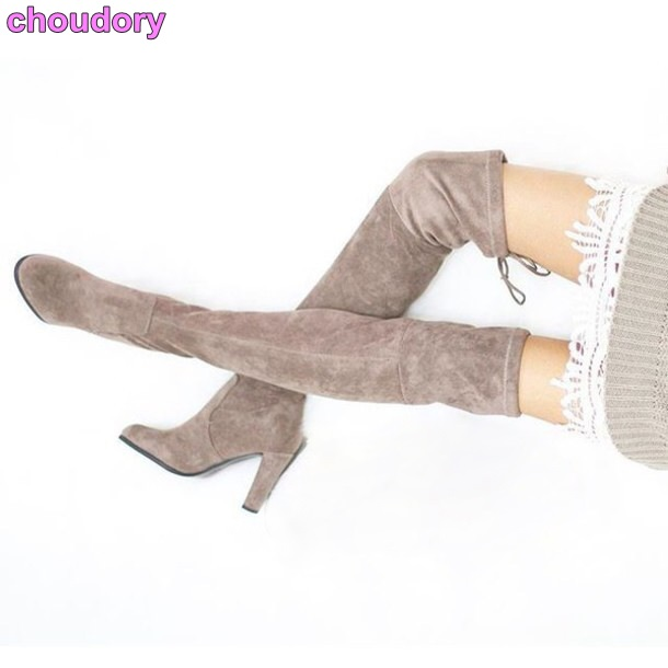 Classic Model Suede Leather Long Boots Over-the-knee Slim Fit Lace-up Boots Thick High Heels Dress Boots Celebrity Brand Boots