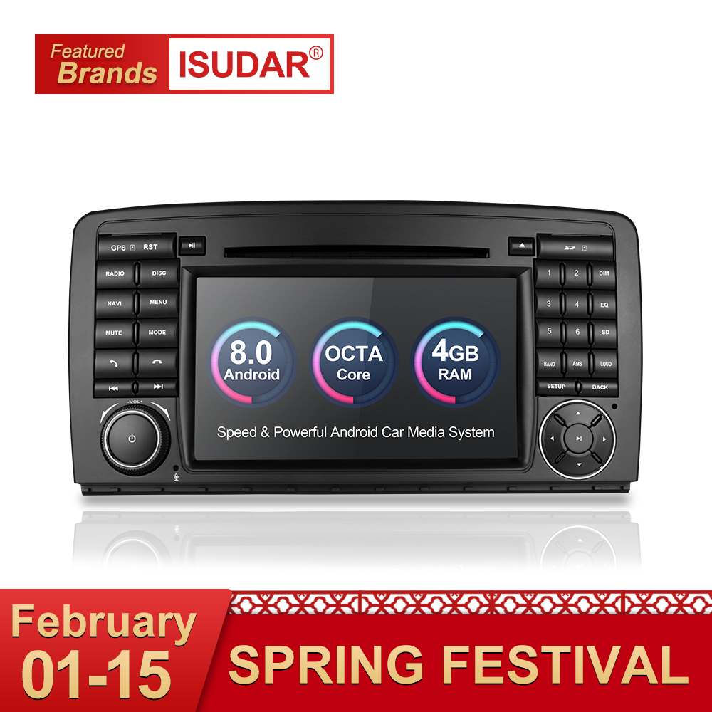 Isudar Auto Multimedia Player Auto Radio GPS Android 8.0 2 Din Stereo Per Mercedes/Benz/AMG R classe W251 R300 R350 R63 Wifi