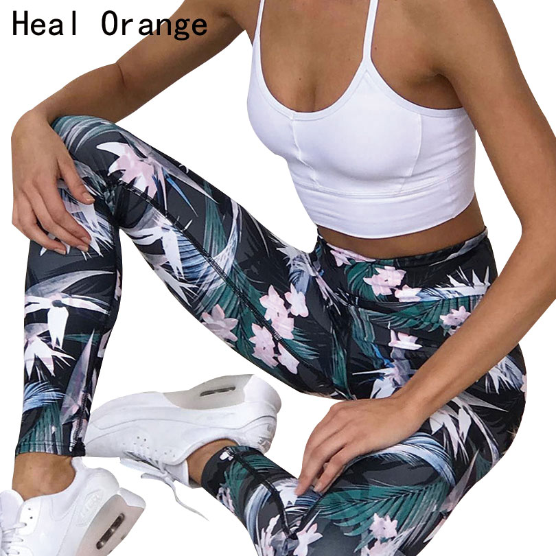 HEAL ORANGE Printed Stretch Sport Leggings Running Tights Fitness Yoga Pant Leggins Gym Sportswear Trousers women yoga Clothing