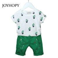 JOYHOPY Kids Jongens Kleding Set 2 STKS Pak Tees + Groen Shorts Chidlren kleding set voor Baby jongens kleding
