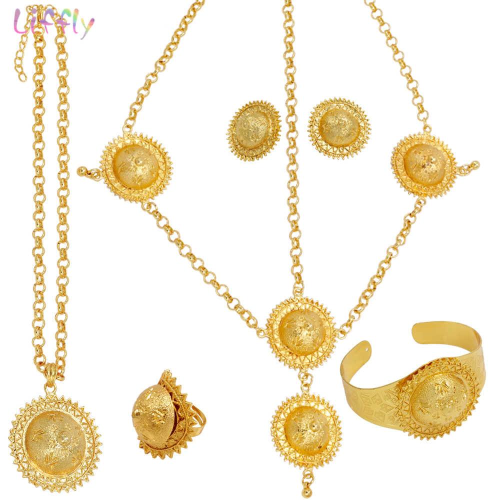 Liffly роскошные свадебные украшения комплекты враг Для женщин Дубай золото Ожерелье Серьги Кольца Ювелирные Браслеты Африканский украшения для свадебного наряда