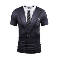 2018 New 3 D Fake Two Pieces Style T Shirt Men Women Tees Summer Tops Print