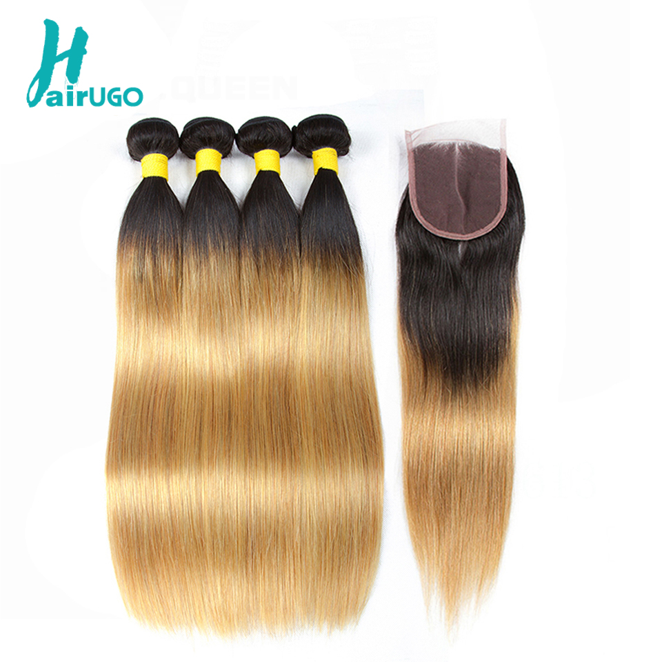"HairUGo Peruvian Straight Hair 3 Bundles With Closure 1B/27 Ombre Pre-colored Human Hair Bundles With Closure Non Remy 8""-26"""