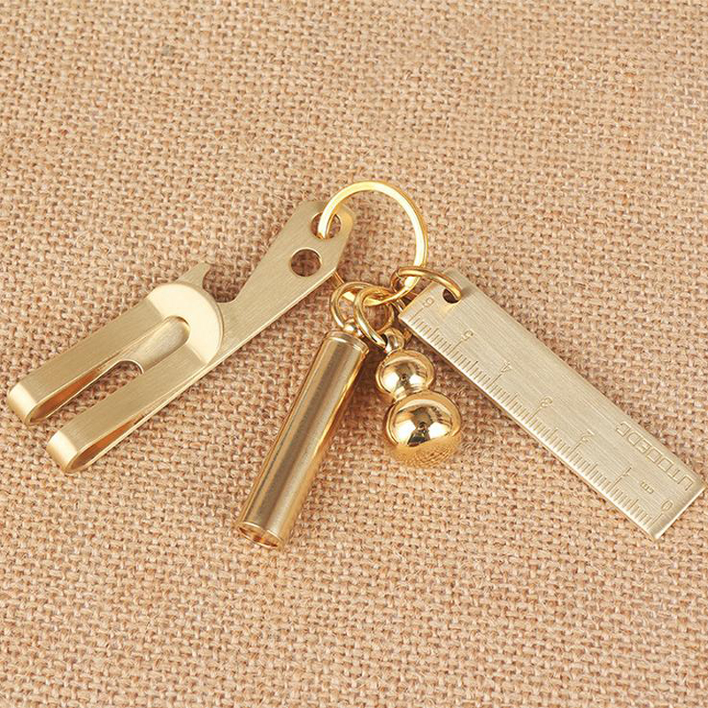 1 Pcs  Mini Vintage Thicken Brass Handy Straight Ruler Copper Metal Natural Color  EDC Tools As Key Pendant Bookmark  6 Cm