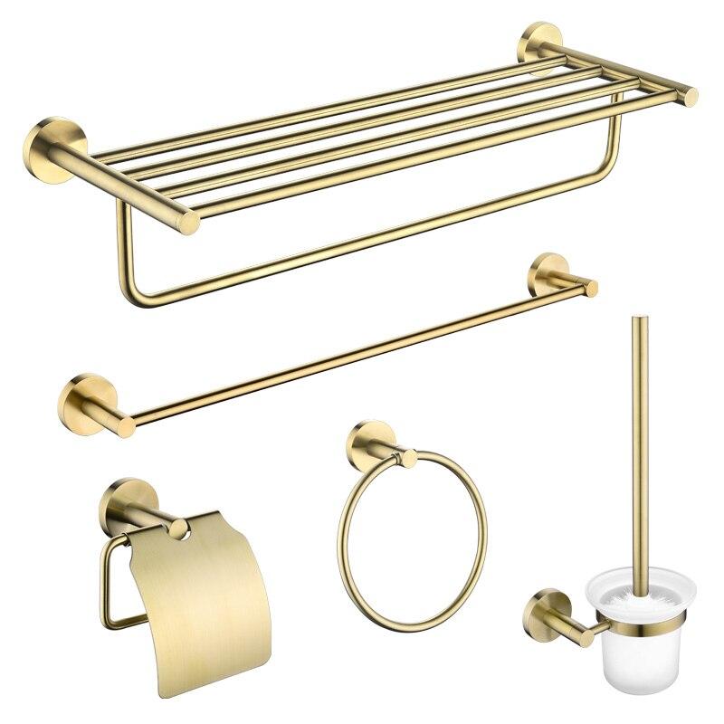 Bathroom Shelf Towel Rack Brushed Brass Bathroom Hardware Pendant Paper Towel Rack Toilet Brush Gold Bathrooom Accessories Set