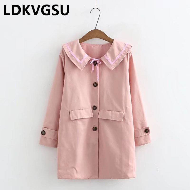 2018 Spring Autumn New Women Navy Collar Bow Windbreaker Solid Color Single Breasted Loose Plus Size Girl Long Trench Coat Is898