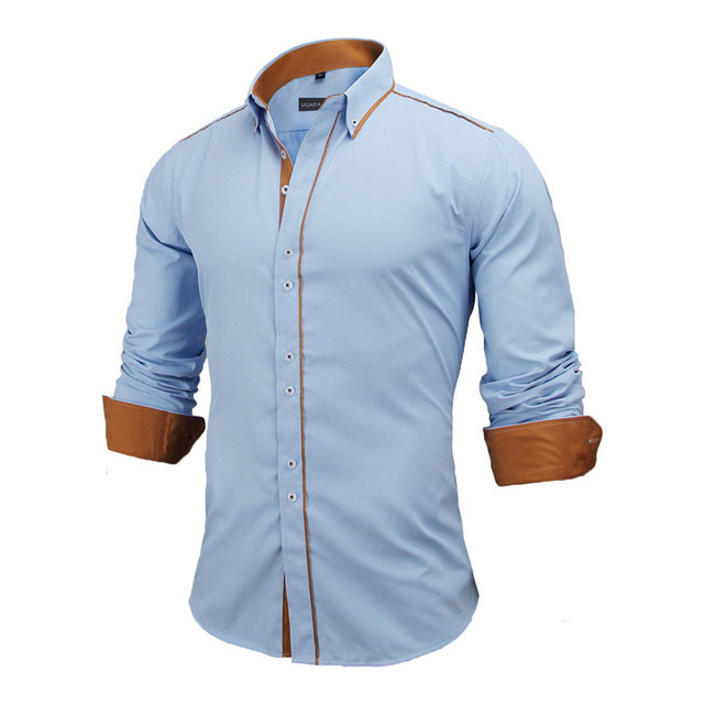 VISADA JAUNA Men Shirts Europe Size New Arrivals Slim Fit Male Shirt Solid Long Sleeve British Style Cotton Men's Shirt N332 3