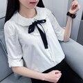 Sash лук кружева питер пэн воротник длинный рукав whte рубашка хлопка блузка femae 17611