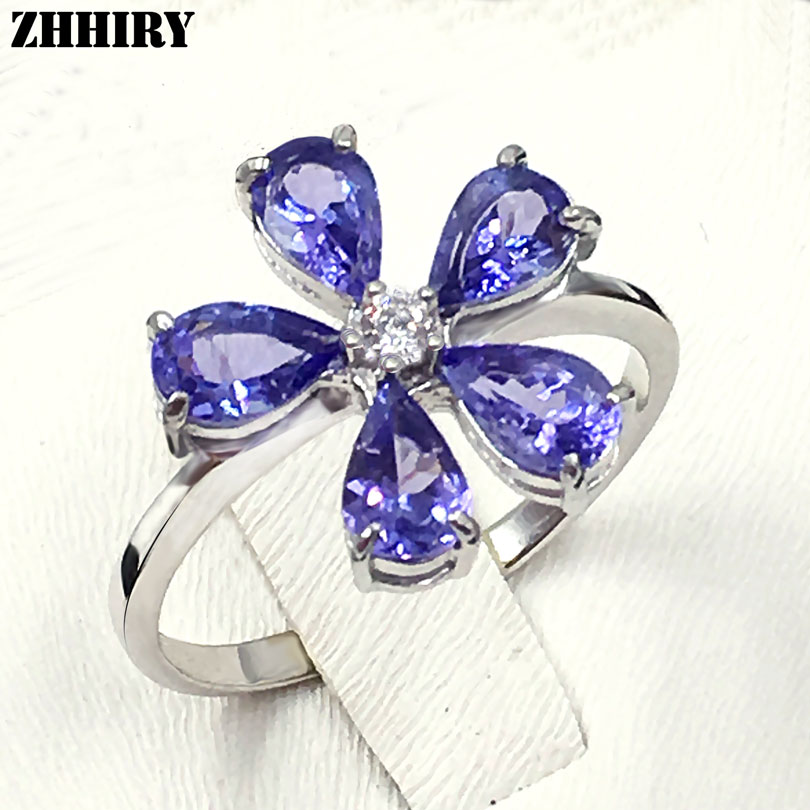 ZHHIRY Real Blue Tanzanite Ring 925 Sterling Silver Natural Gem Stone Rings For Woman Fine Jewelry