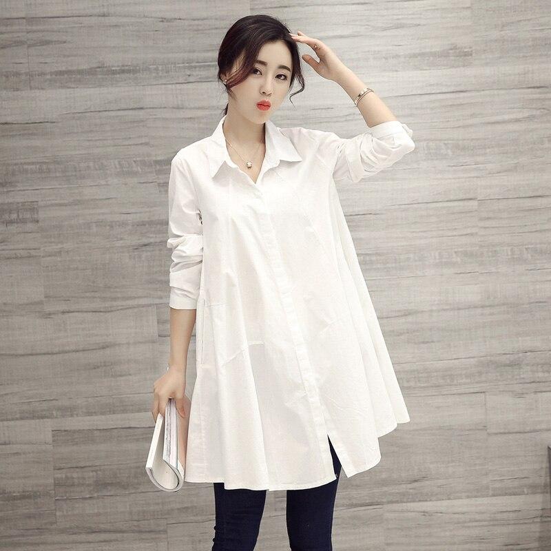 100% Baumwolle Lange Frauen Weiß Shirts Dame Büro Arbeiten Lose Große Größe Dünne Bluse Mode Tops So Effektiv Wie Eine Fee