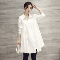 100% cotton long women white shirts lady office work loose large size slim blouse fashion tops