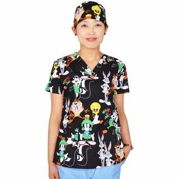 Hennar Women Scrub Tops Medical With V Neck 100% Cotton Surgical Short Sleeve Cartoon Print 2018 High Quality Scrubs Top Female