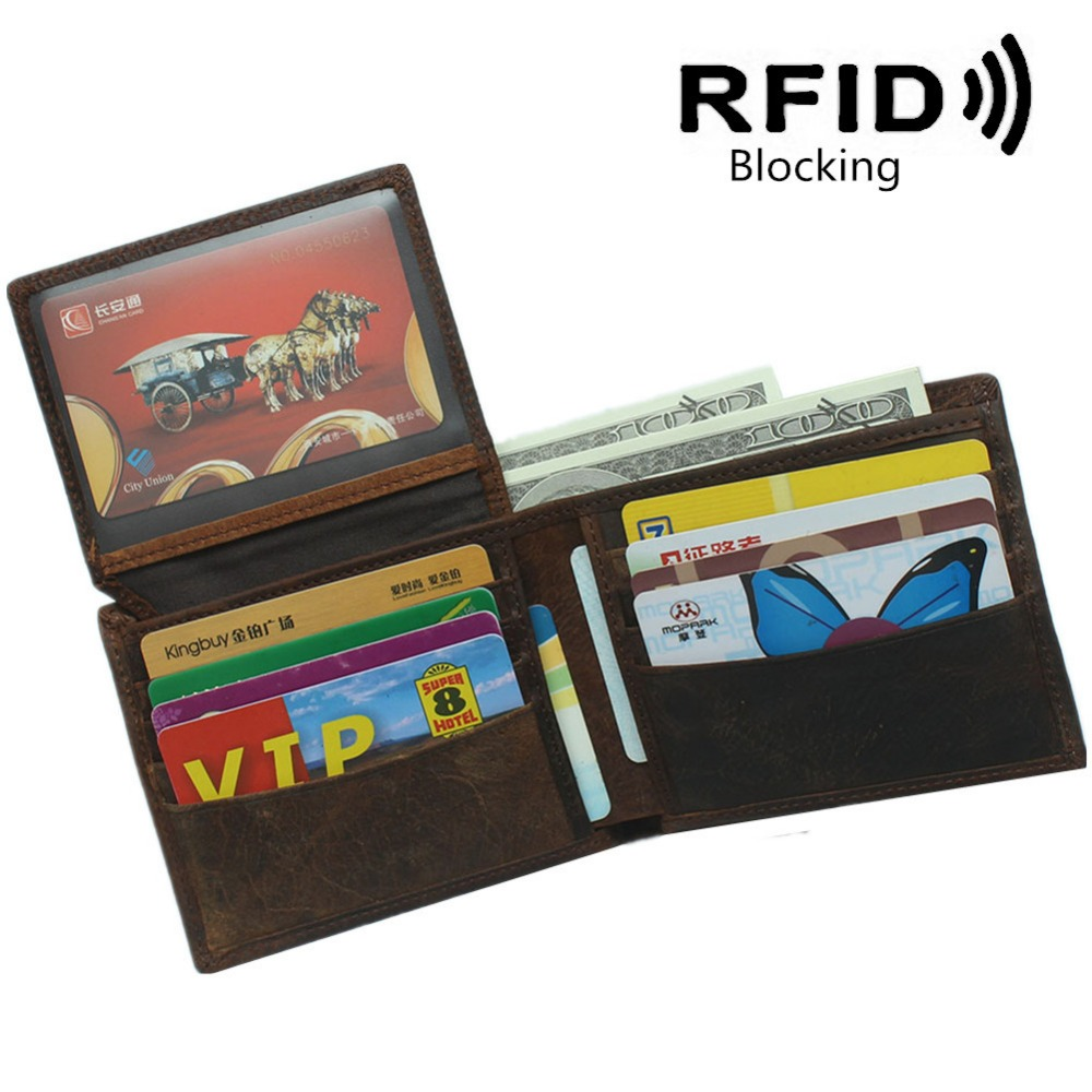 Vintage Genuine Leather Men Men's Rfid Blocking Wallet Wallets Purse Business Card Holder Coin Pocket Zipper Mens Carteira Man new classical vintage style men wallets genuine leather wallet fashion brand purse card holder wallet man coin bag coffee