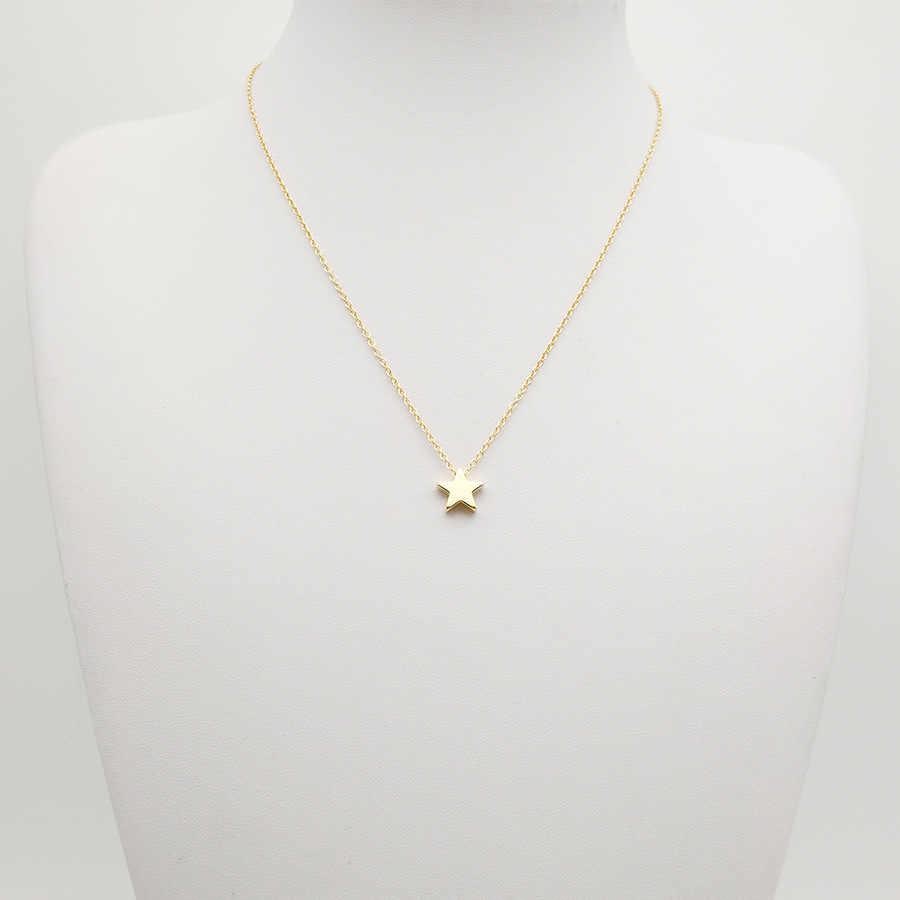 Novo minimalismo pequena estrela pingente colares para senhoras ouro prata cor corrente gargantilha colar feminino pentagrama jóias