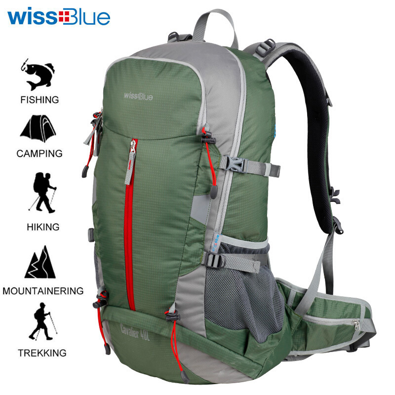 Wissblue Waterproof Travel Hiking Backpack 40L Sports Bag Mountaineering Rucksack Shoulders Bag Climbing Backpack Outdoor Travel