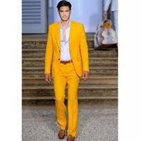 New costume homme yellow men suit 2017 Custom Made Groomsmen Notch Lapel Groom Tuxedos Yellow Men Suits wedding suits for men