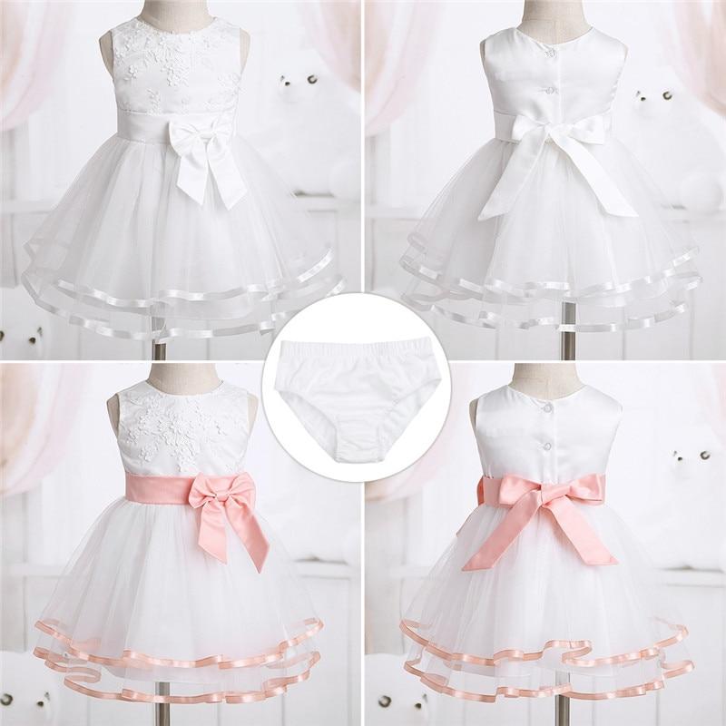 Flower Girl 3D Princess Dress Baby Kids Wedding Formal Party Dresses+Bloomers