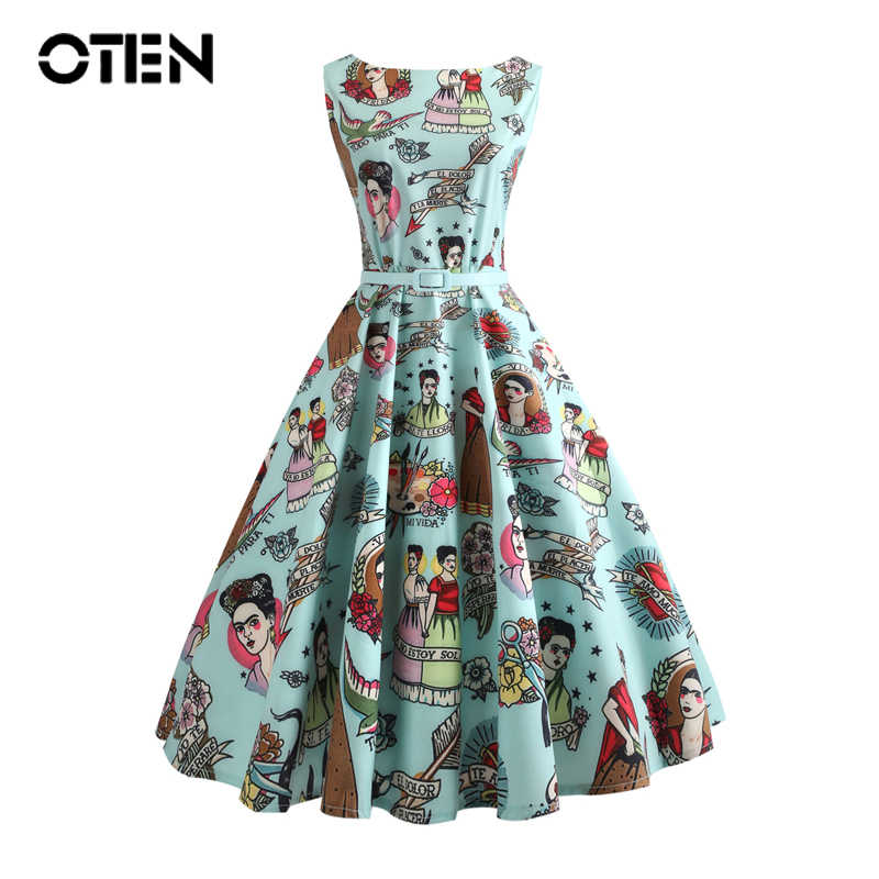 def837d784f9 OTEN cute vintage clothing 2018 Fashionable Elegant retro 50s 60s women  sleeveless casual Summer dress A
