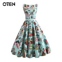 OTEN cute vintage clothing 2018 Fashionable Elegant retro 50s 60s women sleeveless casual Summer dress A Line Midi with belt