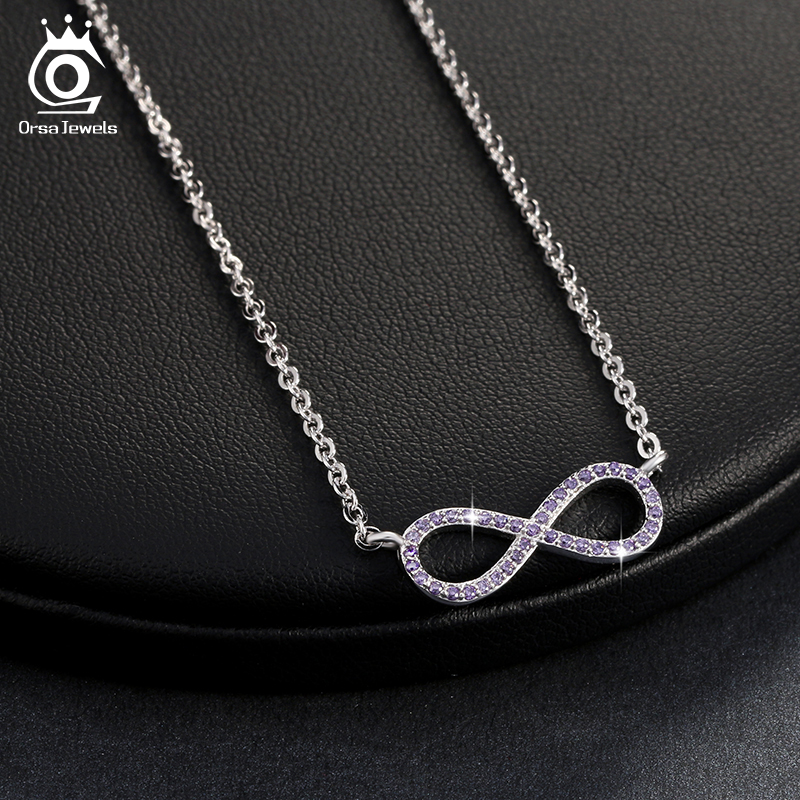 ORSA JEWELS Warna Silver Infinity Pendant Kalung Penuh Shiny Kuning / Ungu / Clear Cubic Zircon New Fashion Wanita Perhiasan ON103