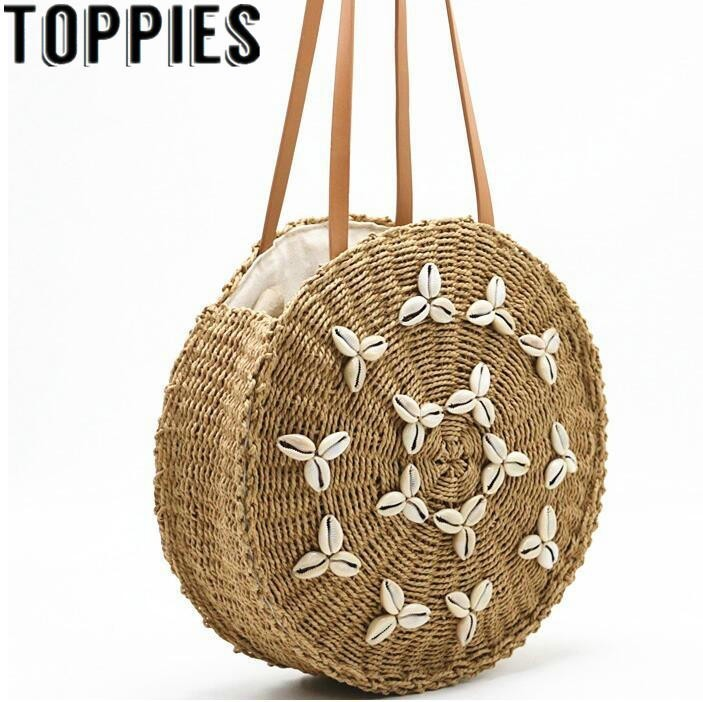 2019 Summer Trendy Shell Straw Bag Round Straw Totes Bohemian Style Beach Bag With Shell Decoration