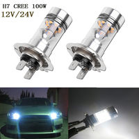 Super Bright 2Pcs H7 100W CREE LED Fog Tail Driving Car Head Light Lamp Bulb White