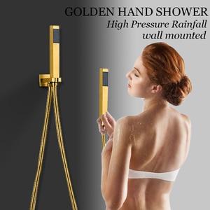 Image 2 - ULGKSD banyo duş musluk LED altın pirinç şelale yağmur biçimli duş kafa duvara monte sıcak ve soğuk su musluk bataryası