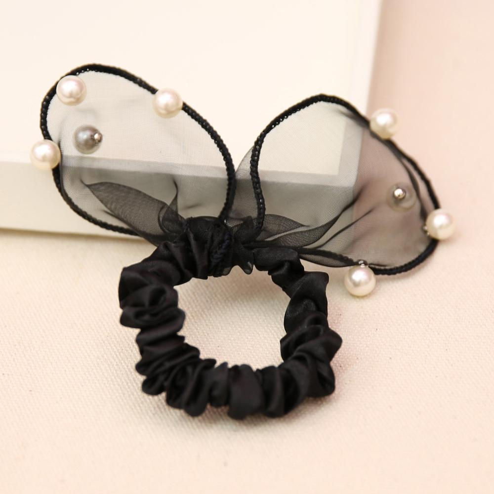 South Korea hair black rabbit ears ring Pearl Tousheng with lovely lace rubber band small jewelry headdress flower