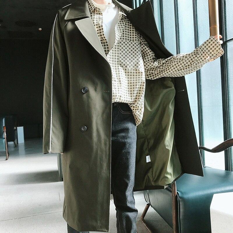 2018 Herbst Koreanischen Stil Herrenmode Revers Zweireiher Windjacke Lose Beiläufige Mäntel Graben Lange Grün Mantel M-2xl Gesundheit FöRdern Und Krankheiten Heilen