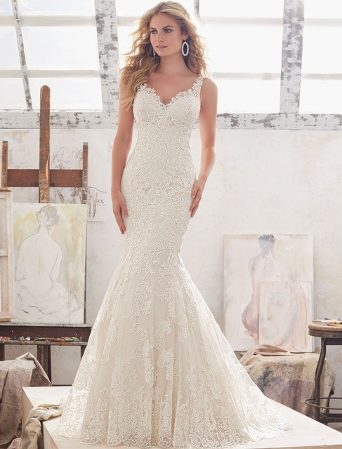 Vestidos de Novia Sexy Backless Mermaid Wedding Dress 2017 Lace Appliques Robe de Mariage Chapel Train Matrimonio Trouwjurk