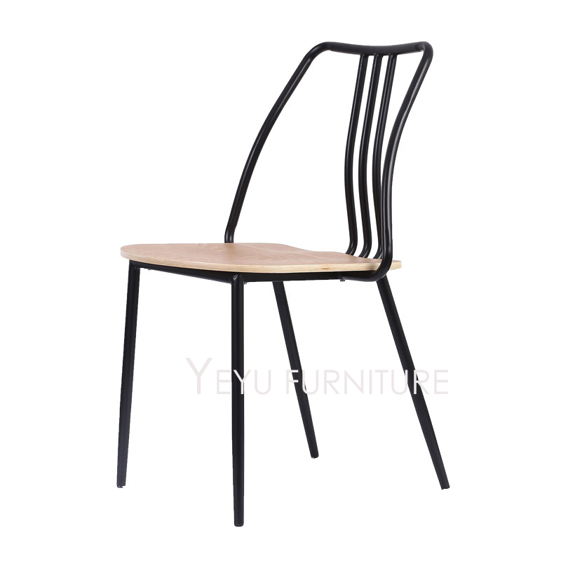 Modern Design Metal And Wood Dining Side Chair , Cafe Loft Industrial Chair,  Popular Fashion Metal Waiting Loft Cafe Chair 1PC In Dining Chairs From ...
