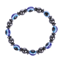 1Pc Weight Loss Stone Therapy Slimming Bracelets Health Care Magnetic Hematite Beaded Stretch for Women