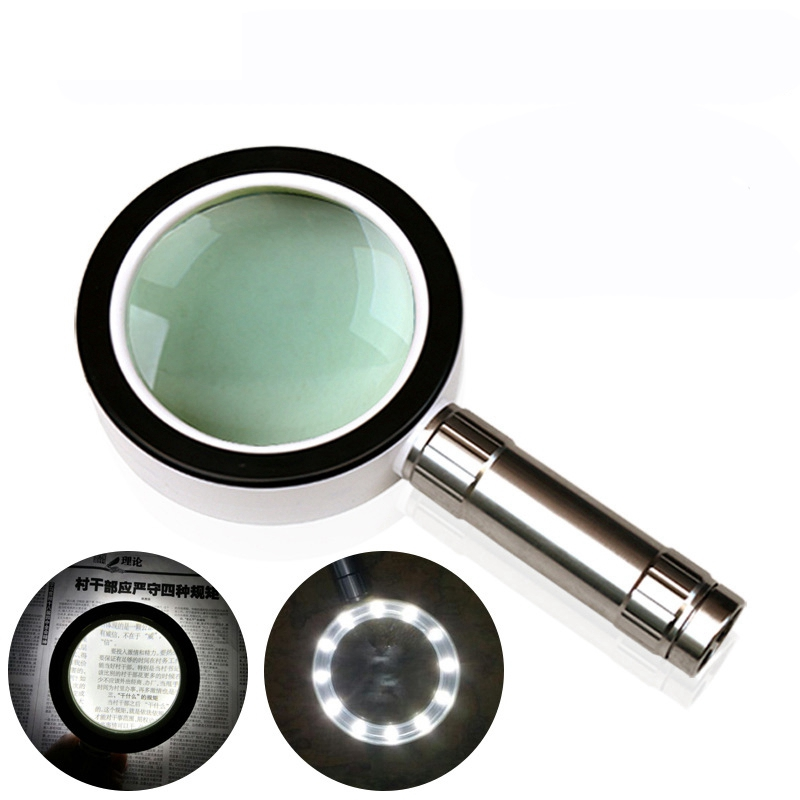 High Quality Illuminated Magnifier Loupe 10X Magnifying Jewelry Glass 85mm Handheld Magnifier For Reading Repairing 20x led illuminated household dedicated handheld office reading magnifier magnifying glass loupe with 10pcs lamps