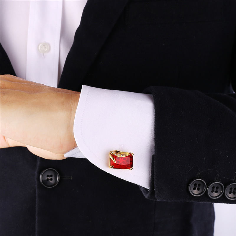 Collare Cufflinks For Mens Austrian Stone Crystal Jewelry Gold/Silver Color Red Cuff Link Wholesale Men Cufflinks C142
